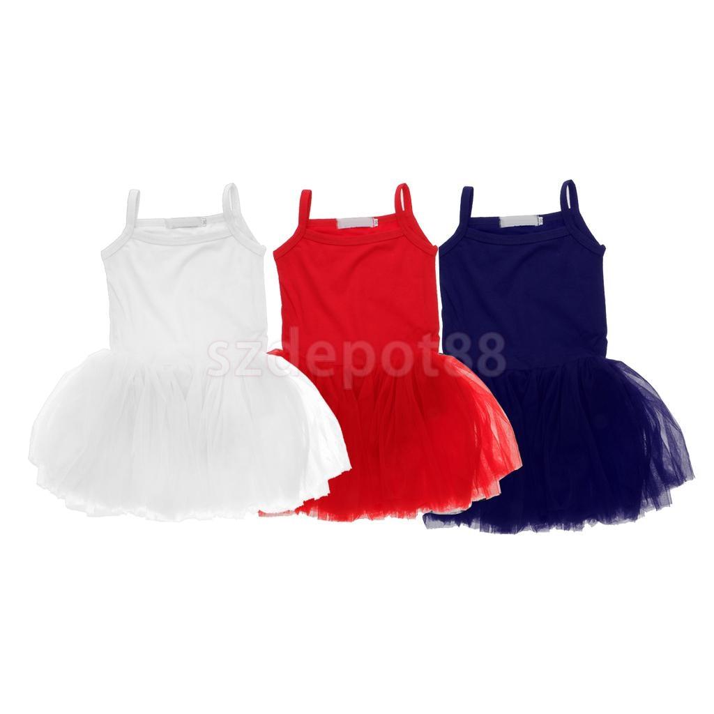 Girl's Ballet Camisole Tutu Leotard Dress Layered Tulle Dance Skirt Child's Dance Wear White/Red/Navy Blue