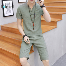 LOLDEAL Mens Short Sleeve Shorts Casual Chinese Style Cotton Embroidered Slim Set