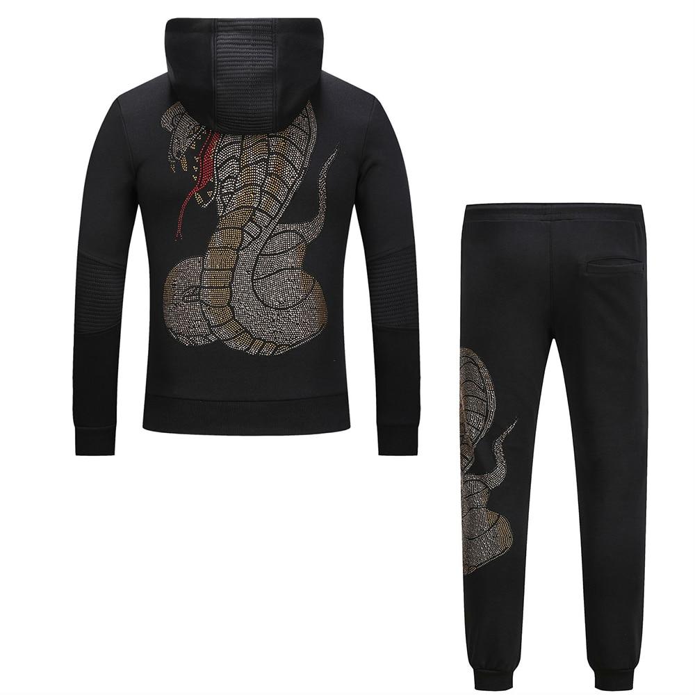 design de qualité 429ed 7d930 € 66.93 28% de réduction|DUYOU marque vêtements hommes métal crâne  pantalons de survêtement sweat contraste Jogging Zip complet survêtements à  capuche ...