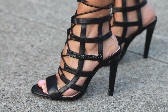 40c8a6f3216b Latest Striped Dress Caged Sandals Black Leather Cutouts Cross Strap Heel  Shoes Lace Up Women Sandals Free Shipping