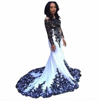 ZYLLGF Hot Mermaid Back And White Bridesmaid Dresses Long Sleeves Wedding Party Dress Bridesmaid Gowns With Appliques ND154
