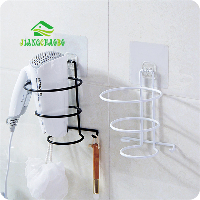 Jiangchaobo Multi Color Bathroom Organizer Hair Dryer Rack Aluminum Home Wall Mounted Holder Shelf Storage Stand