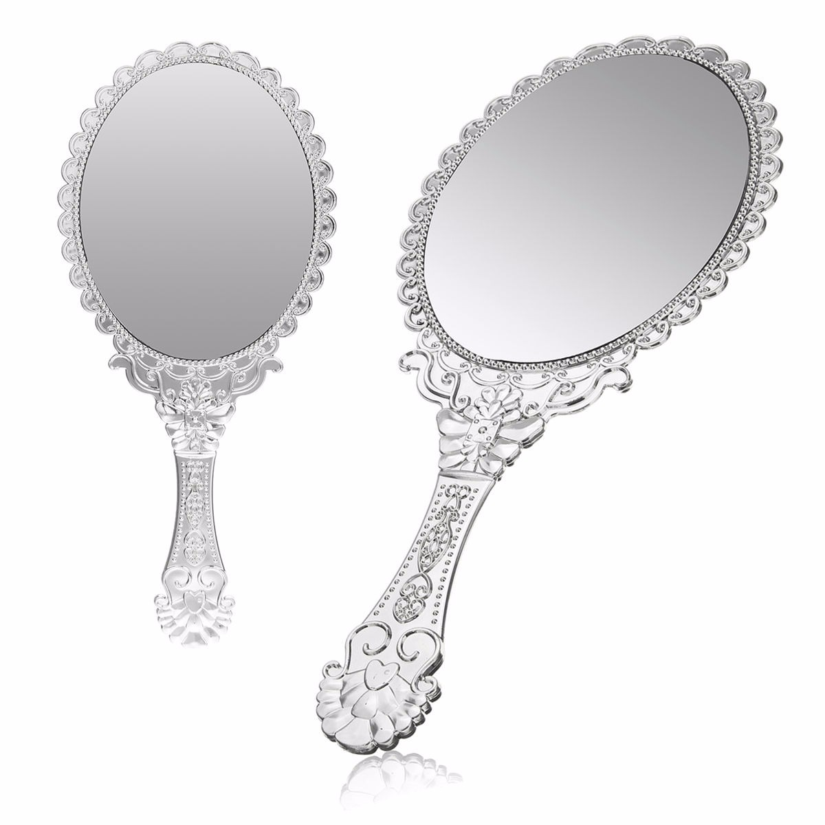 1pcs Oval Round Hand Hold Makeup Mirror Cute Silver