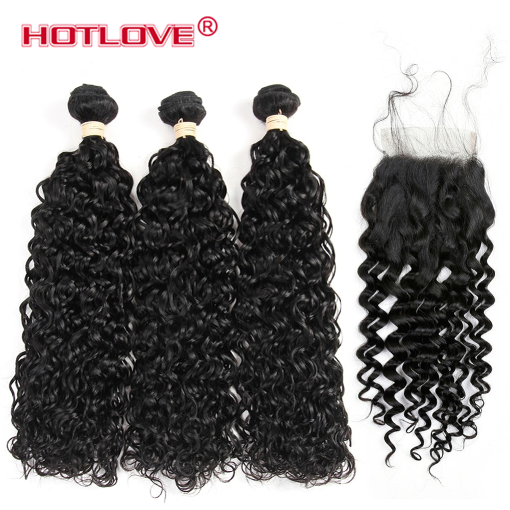 Hotlove Brazilian Water Wave With Closure 3 Bundles Human Hair Weave With 4X4 Lace Closure Non Remy Hair Weave Bundle