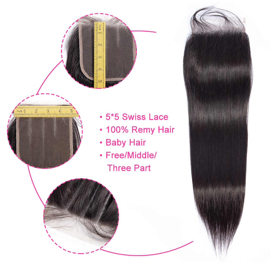 Gabrielle человеческих волос 5x5 кружева закрытие бразильские прямые волосы верхнее закрытие с детскими волосами Натуральные Цветные волосы Реми для наращивания
