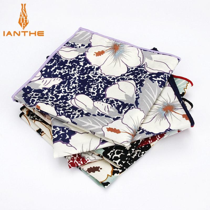 Brand New Men's 100% Cotton Floral Vintage Pocket Square For Man Classic Handkerchief Check Hankies Suits Wedding Print Towel