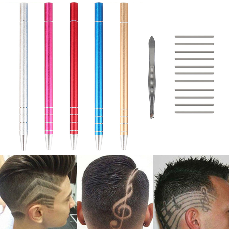 Professional Hairstyle Accessory Hair Design Stainless Steel Pen Hair Styling Trimmer Salon DIY Engraved Pen with 10 Blades