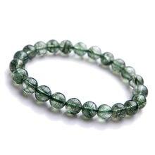 Genuine Green Natural Rutilated Quartz Bracelets 8mm Women Men Stretch Rutilated Quartz Crystal Round Beads Power Bracelet AAAA 500pcs 12mhz 3 8mm passive cylindrical quartz crystal oscillator
