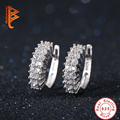 925 Sterling Silver Round Loop with High Quality Tiny AAA+ CZ Small Hoop Earrings For Women Jewelry