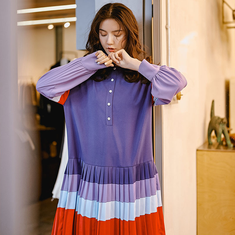 LANMREM 2019 Spring Clothes For Women New Pattern Temperament Split Joint Violet Contrast Color Pleated Fashion