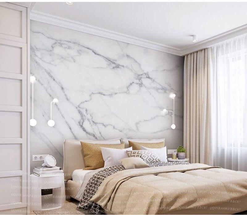 8D Abu abu Tekstur Marmer Putih 3D Batu Wallpaper Papel Mural untuk Kamar Tidur Latar Belakang