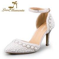 Love Moments sandalias de salto alto de Las Mujeres sandalias con tacones Blancos Zapatos de Novia Bombas de Las Mujeres de san valentín de La Boda zapatos de las señoras zapatos de noche zapatos de las mujeres