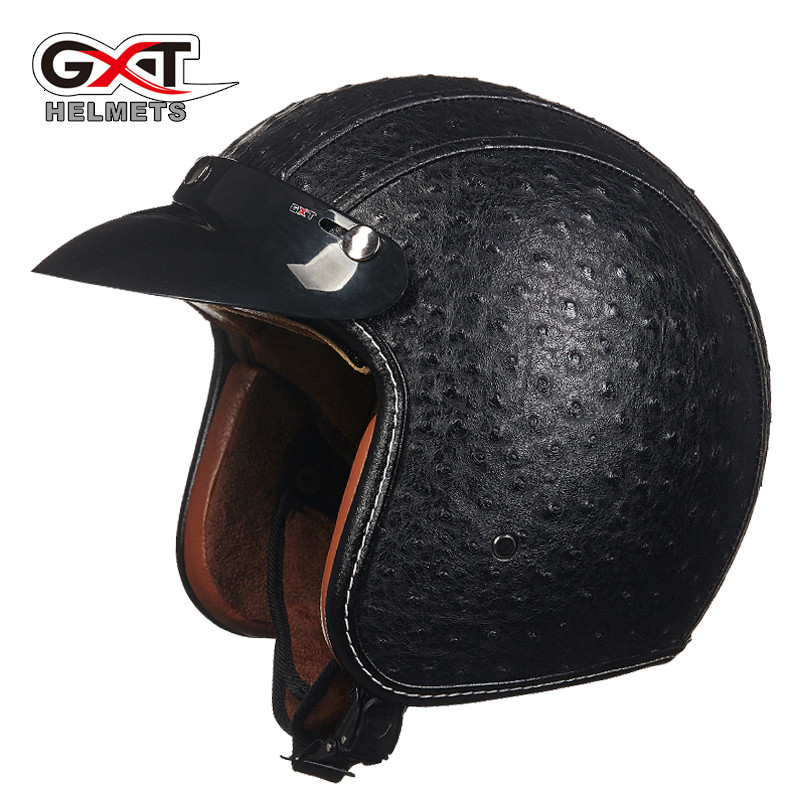 2017 New arrival brand GXT retro helmet Cool PU Leather motorcycle helmet Vintage scooter open face helmet Moto capacete