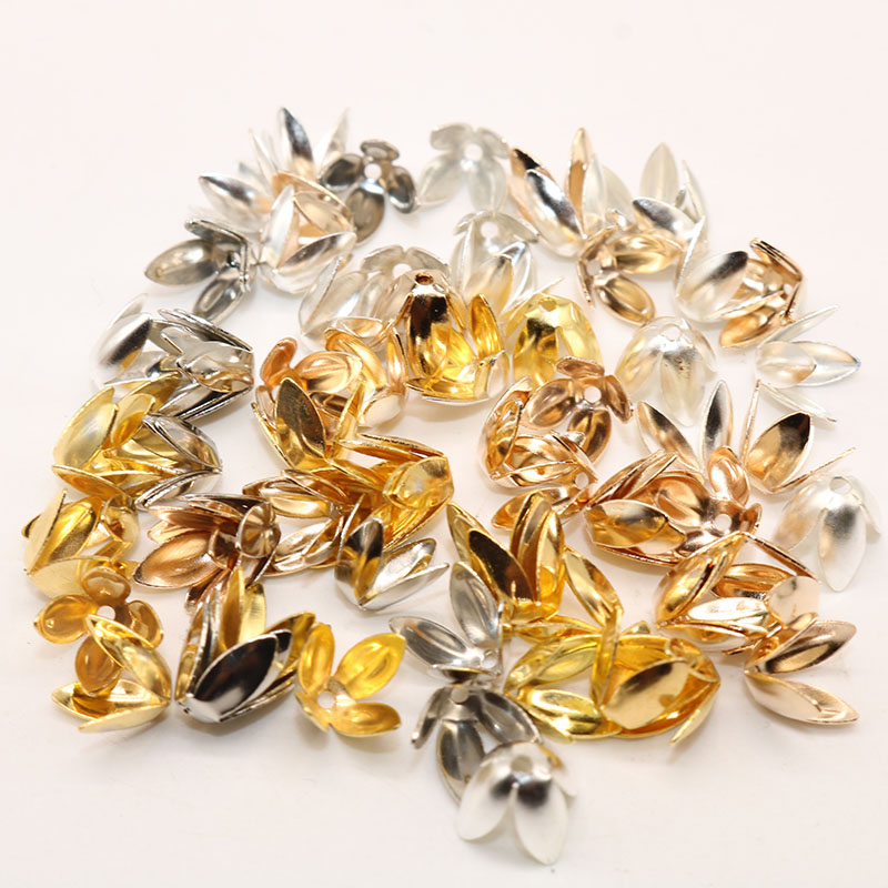 8mm Wholesale 150pcs/lot Petal Flower Spacer Beads Caps Charms Four Leaves Bead Caps For Jewelry Making Handmande