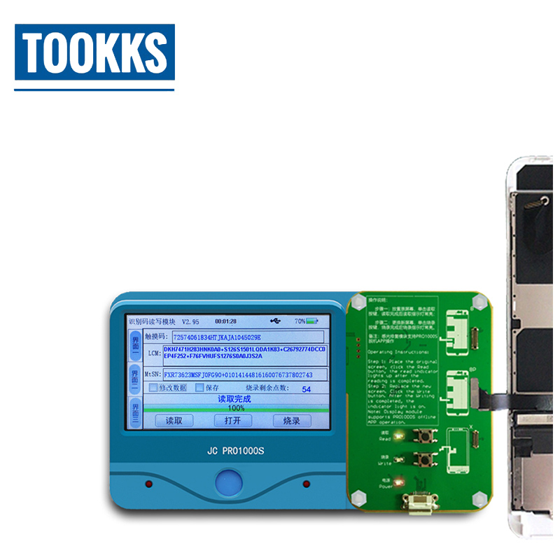 все цены на JC Pro1000S LCD Touch Screen Photosensitive Data Programmer Backup Read Write Module For iPhone 8 8P X Phone Photoreceptor онлайн