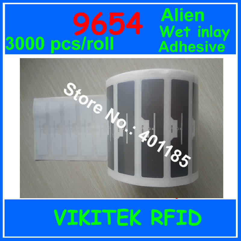 UHF RFID sticker Alien 9654 wet inlay 860-960MHZ Higgs3 3000pcs per roll EPC C1G2 ISO18000-6C 915mhz uhf tags passive card label 200pcs lot programmable uhf rfid blank pvc card with alien h3 chip iso 18000 6c epc class1 gen2