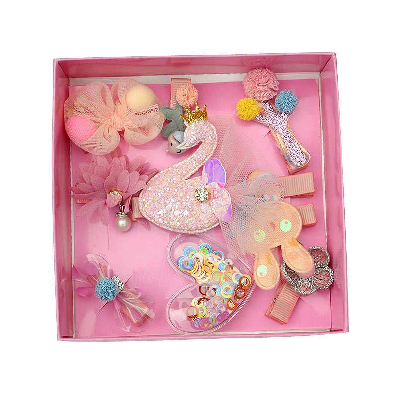 18 шт./компл. Детские зажимы для волос Haarband банты волосы для куклы аксессуары оголовье девушки шифон мультфильм заколки эластичная лента для волос