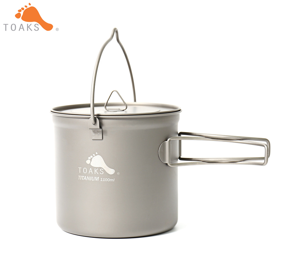 TOAKS POT 1100 BH Titanium Outdoor Camping Hanging Pot With Bail Handle Easy to Carry 1100ml