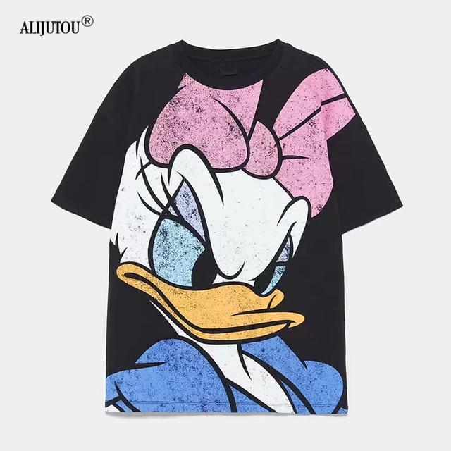 2019 Women's T-shirt Summer Cartoon Daisy Duck Print Short Sleeve T shirts For Women Casual Cartoon Mickey Tshirts Fashion Tees