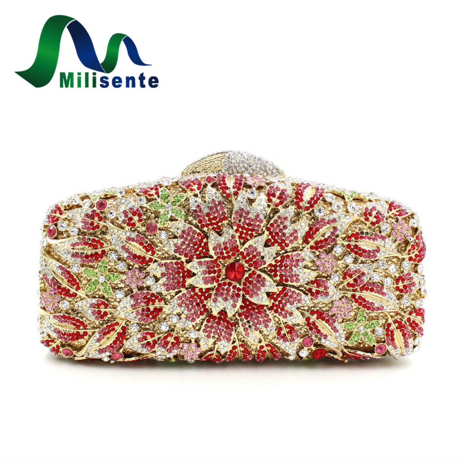 Women Flower Crystal Evening Bag Wedding Party Clutch Purse Handbags Free Drop Shipping Pink Blue Black And Green fashion box evening bag oil painting flower black lock clutch bag strap mini tote bag ladies purse trunk white women handbags
