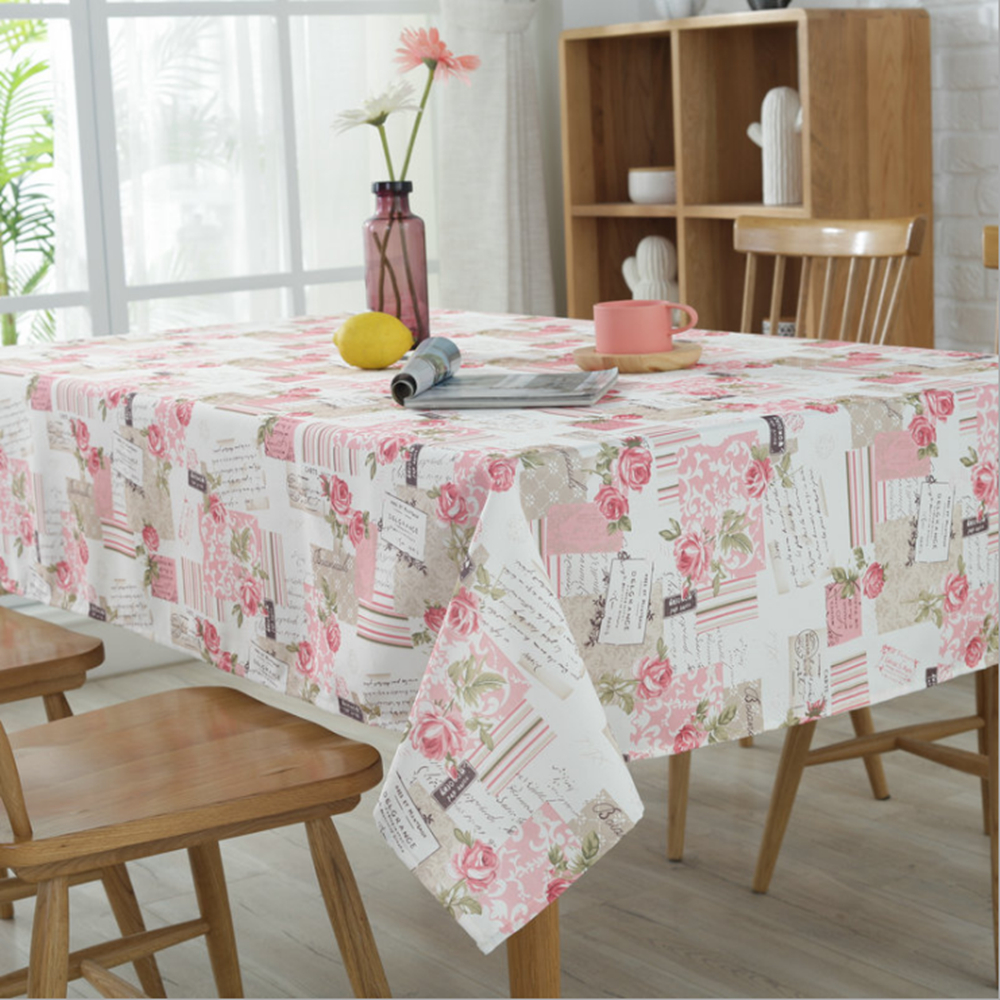 new tablecloth pink rose series of high quality polyester. Black Bedroom Furniture Sets. Home Design Ideas
