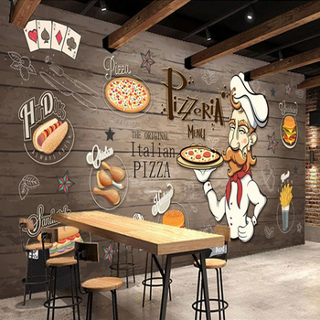 Custom 3D Photo Wallpaper Mural Hand Painted Wood Grain Food Pizza Restaurant Kitchen Personality Background Wall Decor Painting цена 2017