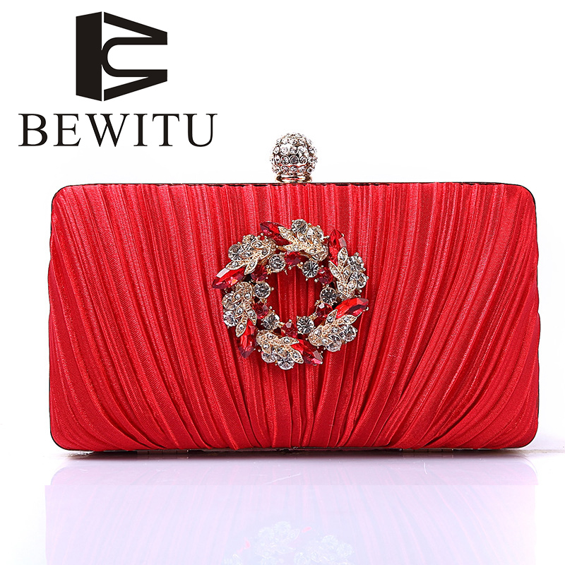 BEWITU Diamond Fashion Evening Bag High-end Ladies Hand-held Evening Bag Party Flower Wedding Package Chain Messenger Bag bewitu 2018 fashion diamond lattice women shoulder bag attractive hasp chain evening bag for female in party and business