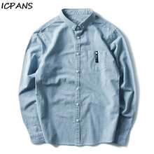ICPANS Plaid Casual Shirts Cotton Stand Collar Vintage Chinese Style Chemise Homme Long Sleeve For Male Autumn