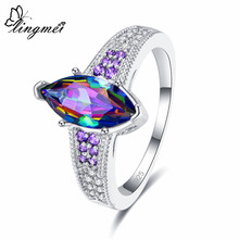 Lingmei Engagement Wedding Women Ring Marquise Cut Multicolor & White Pink Purple Zircon Silver 925 Jewelry Size 6 7 8 9