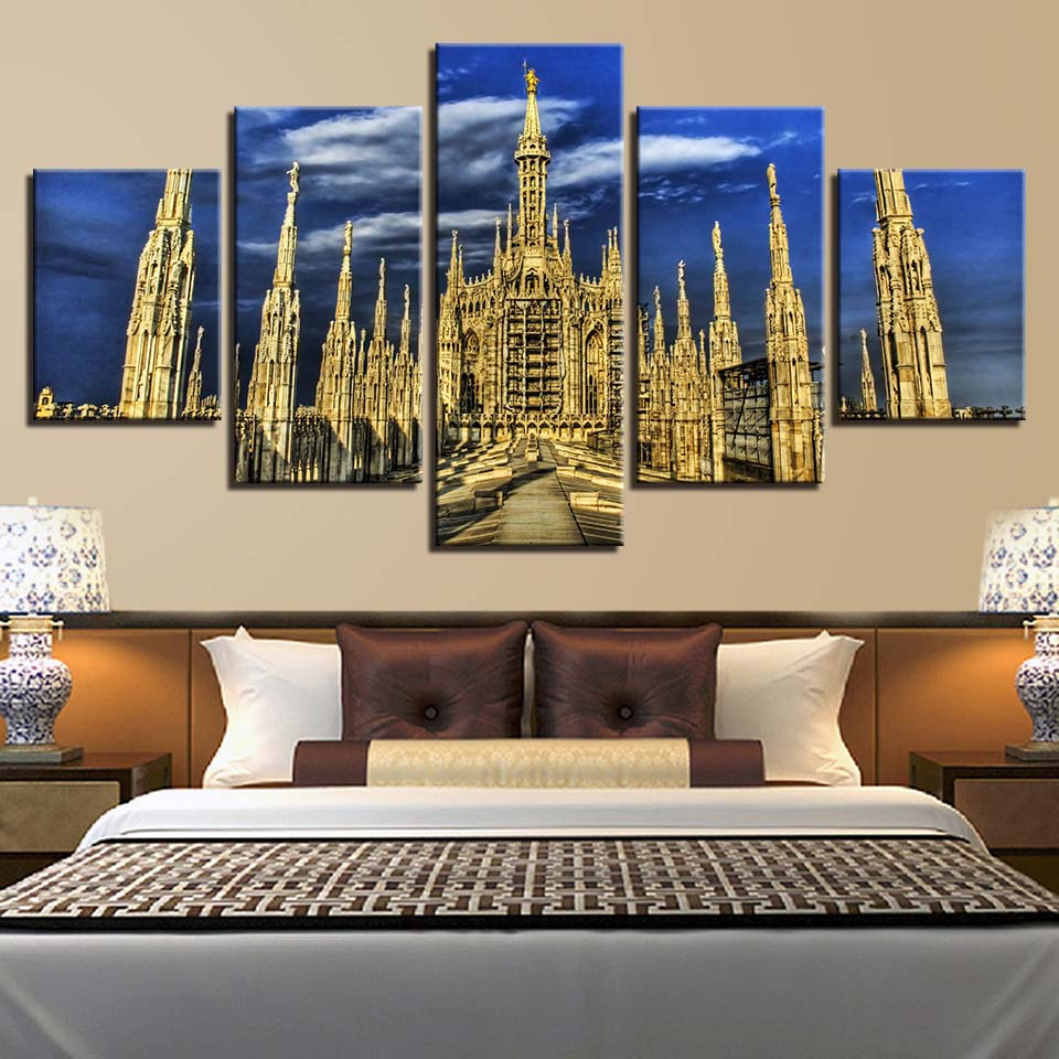 Wall Art Poster Modern Home Decor Living Room Bedroom 5 Pieces Milan Lake Maggiore Landscape Canvas Painting Pictures Framework