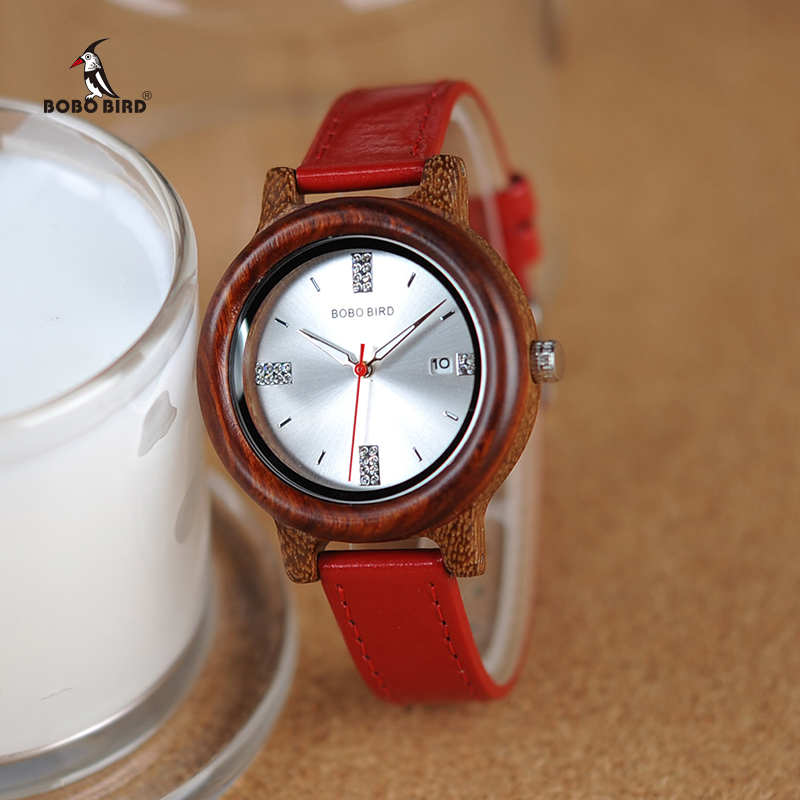 BOBO BIRD Brand Women Wood Watch 37mm Wooden PU Strap Wristwatches Female Timepieces Lady Quartz Watch Relogio Feminino C-P29