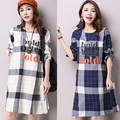 2016 New Fashion High Quality plaid Dress for Pregnant Women Long Sleeve Maternity Dress for Pregnancy Plus Size Clothes