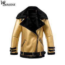 Fashion Metal Gold Faux Leather Suede Coats Winter Women Casual Zipper Shearling Motorcycle Thicken Warm Fur Integrated Jackets недорого