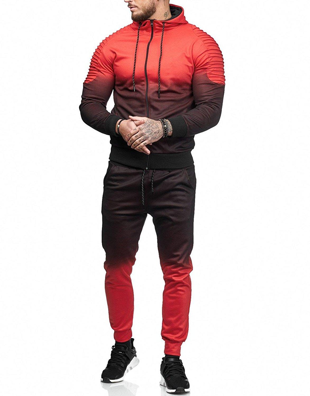 b8512152be075 Compre TREVOR LEIDEN Gimnasios Conjuntos De Hombres 2018 Moda Deportiva  Chándales Conjuntos Hombres Sudaderas Con Capucha + Pantalones Casual  Outwear Trajes ...