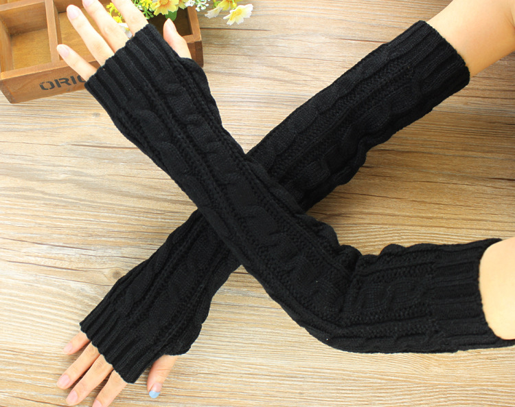 Fashion Hemp Flowers Fingerless Knitted Long Gloves Women Female Warm Winter Guantes Mujer Wool Arm Warmers