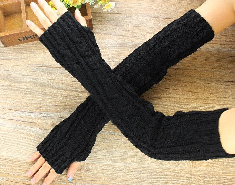 Fashion Hemp Flowers Fingerless Knitted Long Gloves Women Female Warm Winter Guantes Mujer Wool Arm Warmers