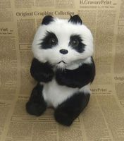about 16x14x20cm simulation panda hard model plastic&furs sitting panda home decoration prop craft decoration gift s2702