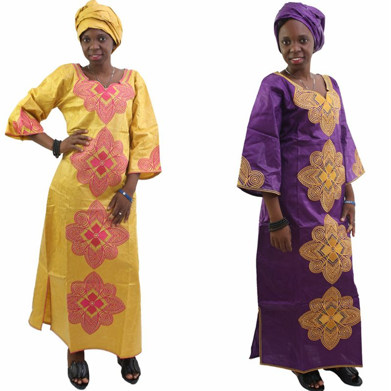 H & D جديد الموضة الأفريقية بازان الثراء اللباس للمرأة القطن 100٪ رئيس التفاف وشاح الرأس سيدة فستان طويل S2427
