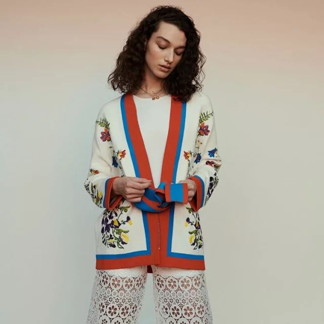 Women Jacket 2019 Spring and Summer National Color Colorblock Embroidered Loose Knit Cardigan