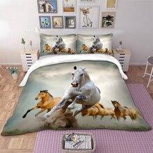 Horse Bedding Set Queen king single Size Animal horses running Duvet Cover Bedclothes 3pcs Home Textiles