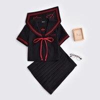 Black Hot Schoolgirl Uniforms Dark Devil Embroidery Jk Sets Japanese School Uniform Cosplay Student Collage Sailor Suit Female