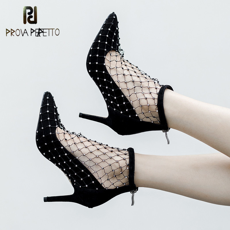 Prova Perfetto Woman Sexy Crystal Mesh Boots Summer Breathable Cool Boots Poineted Toe High Heels Pumps Shoes Woman Ankle Boots yjp sexy lace summer boots women shoes breathable mesh zipper black ladies summer shoes woman ankle boots casual high heels bota