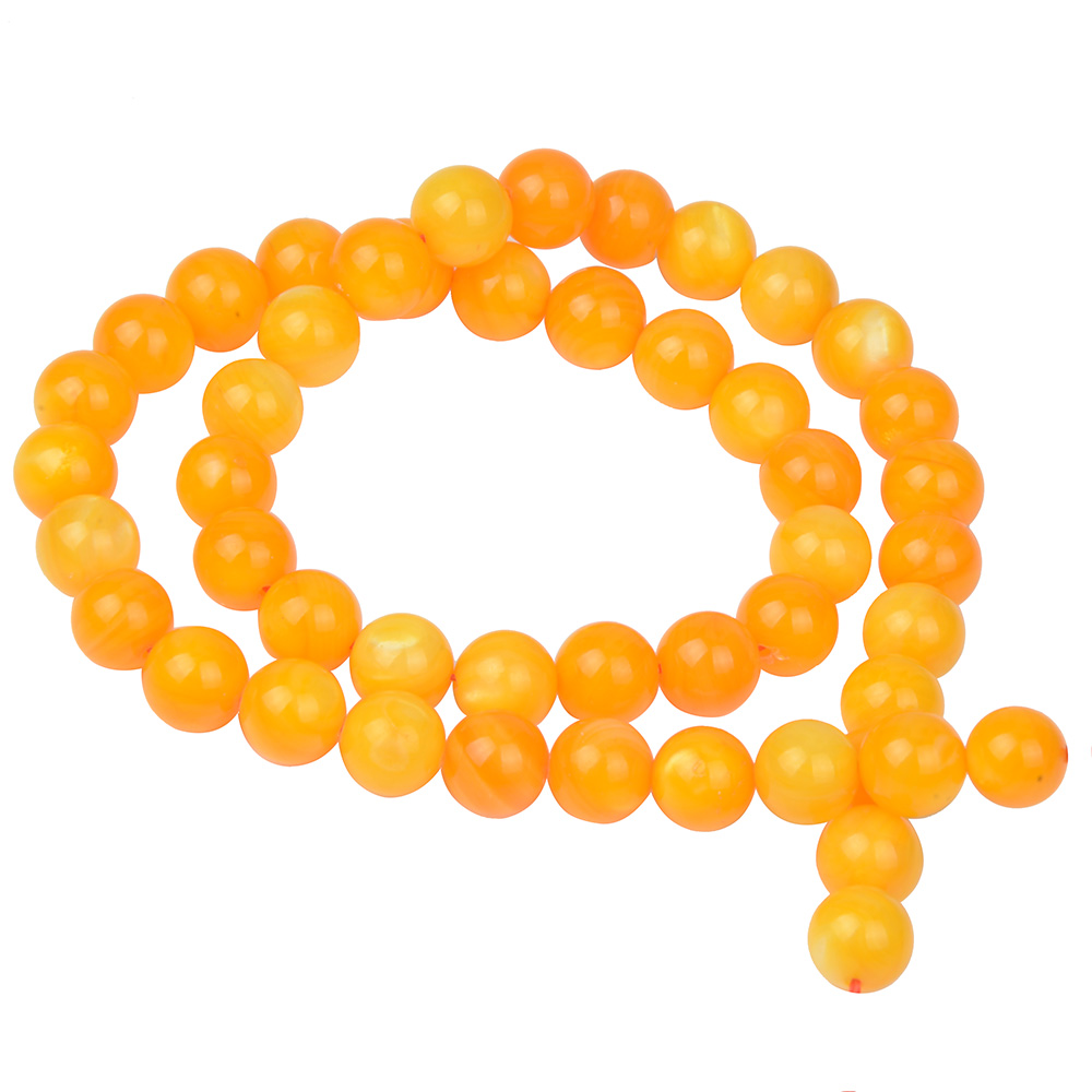 Colored Round Yellow Shell Beads For Women Shell Jewelry Making Loose Beads