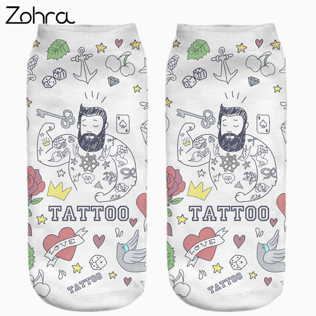 Zohra Hot Sale Funny Tattoo Full Printing Women Low Cut Ankle Sock Meias Cotton Hosiery Casual Slippers Calcetines Socks