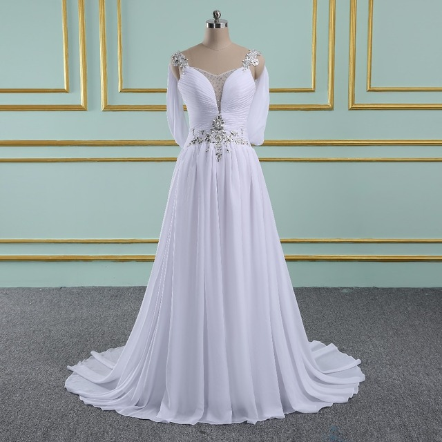 Vinca sunny 2018 Wedding Dresses Chiffon A Line Beach Wedding Dress Open  Back Beaded Sexy Bridal Gowns Vestidos de Novia c5053de59470