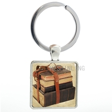 Class Old Books key chain ring holder vintage Bundle of Books keychain men women teacher students keyring jewelry gifts AA36