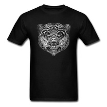 Fashionable Men T-shirt Ethnic Bear Print T Shirts Youth Tshirts Family Summer Fall Short Sleeve Cotton Tees Black Clothes Chic