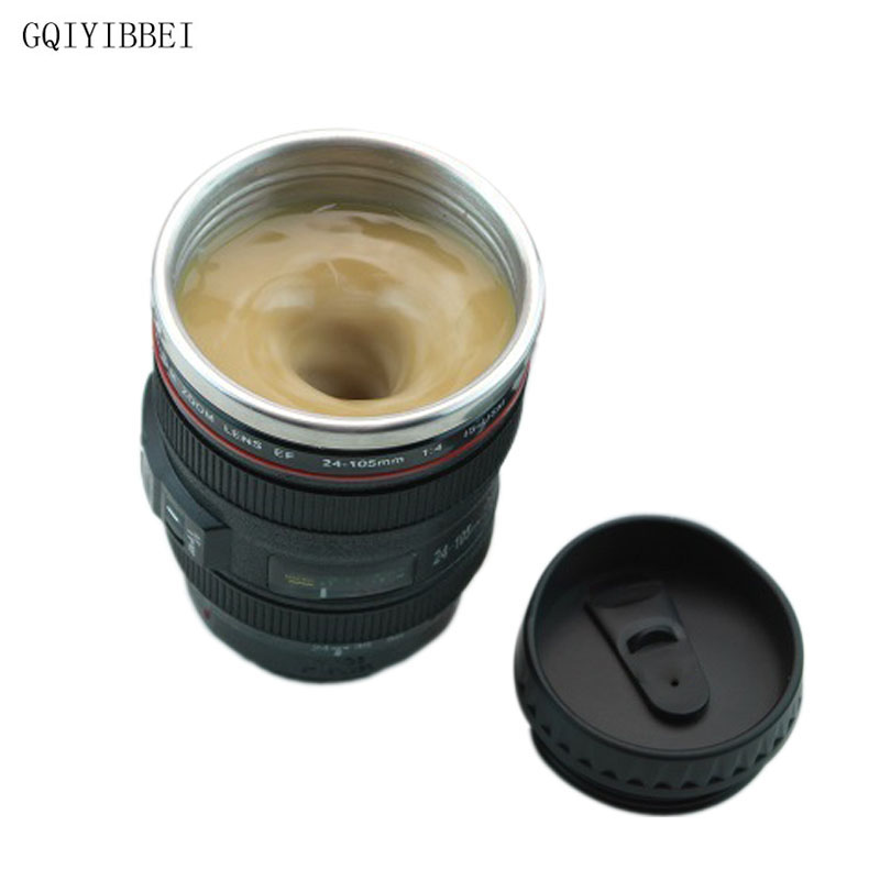 300ml Creative Camera Lens Self Stirring Coffee Cup Mugs Stainless Steel Double Insulated Smart Mixing Coffee
