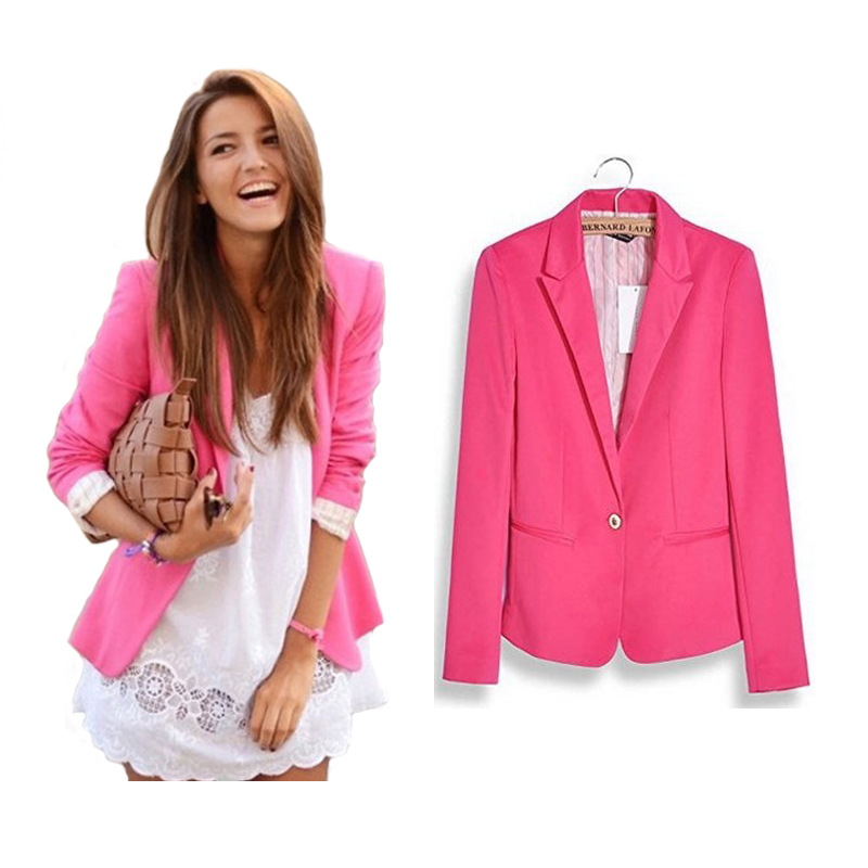 6273b4f4a5b Hot Stylish Women Candy Color Blazer Jackets One Button Solid Slim Ladies  Blazers Work Wear Long