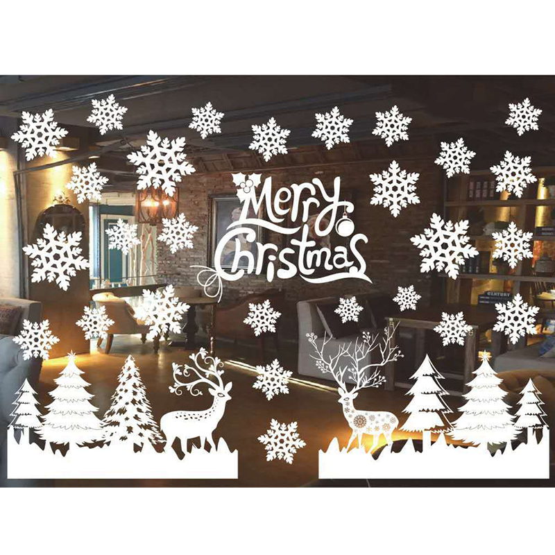 Christmas Tree Snowman Christmas New Year Shop Window Wall Sticker Christmas Decorations for Home